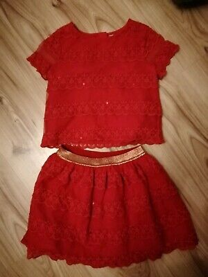Girls Pretty Red Lace Set Age 7