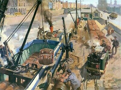 Mounted Print, Railwayana  Loading Guinness on the Liffey, Dublin . Cuneo