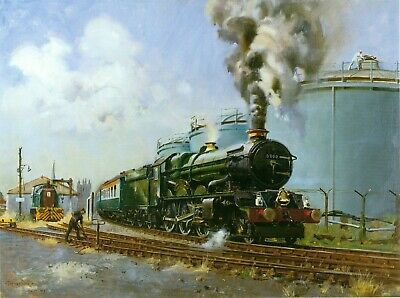 "Mounted Print, Railwayana  4-6-0 ""King George V"" at Hereford. Cuneo"