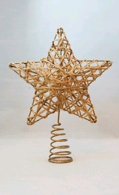 "Star Tree Topper Small Gold Rattan Christmas Natural 6"" Kurt Adler"