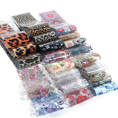 50 Sheets Flower Leopard Holographic Nail Foils Nail Art Transfer Stickers Decor