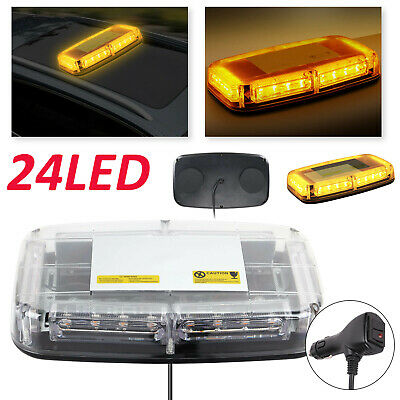 Amber 24 LED Vehicle Roof Light Flashing Recovery Strobe Beacon Light Magnetic