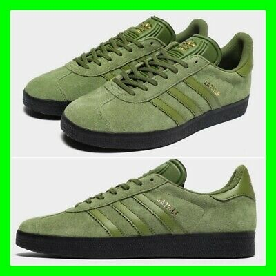Adidas Originals Gazelle Mens Shoes Green Khaki Olive Sneaker Suede Trainers NEW