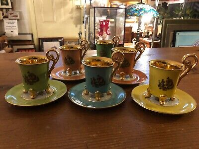 Vintage P.M.B. Dee. Meissen Footed Demitasse Set