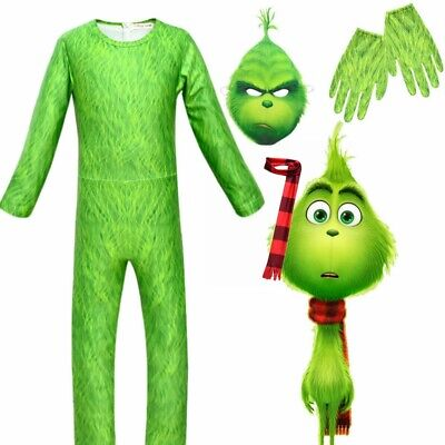 The Grinch Cosplay Costume Mask Kids Boys Christmas Fancy Dress Jumpsuit 4PCS