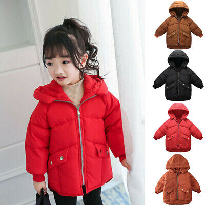 Toddler Baby Kid Girls Boys Winter Warm Hooded Coat Padded Down Jacket Outerwear