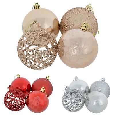 Pack of 24 Christmas Baubles Tree Decorations Large Xmas Glitter Ornaments 8cm