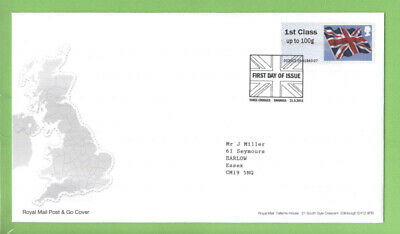 G.B. 2012 Post & Go 1st Class Flag on Royal Mail First Day Cover, Swansea