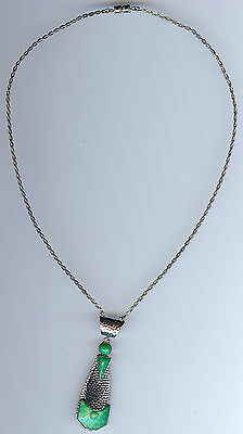 Vintage Art Deco Chrome & Green Marbled Jade Look Glass Necklace