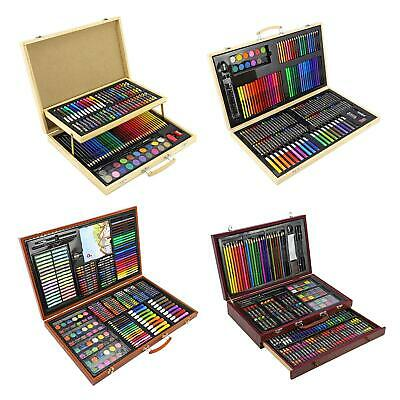 Children Adults Wooden Art Sets Case Colouring Pencils Painting Drawing Crafts