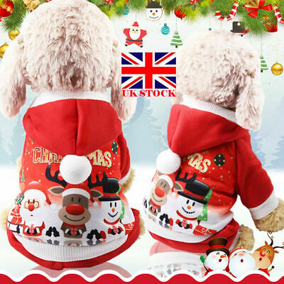 Pet Cat Santa Costume Dog Christmas Small Coat Outfit Clothes Hoodie Jumper Xmas