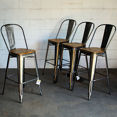 Set of 4 Steel Metal Industrial Bar Stool Breakfast Kitchen Bistro Cafe Vintage