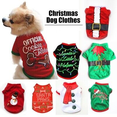 Dog Cat puppy SMALL Pet Christmas Jumper Santa Elf vest Clothes S/M/L t-shirt UK