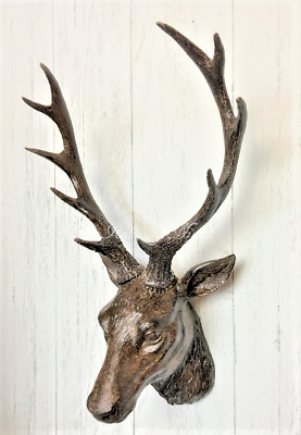 Wall Mounted Stag Head Wall Plaque Decoration Deer Antler Animal Figure 47 cm