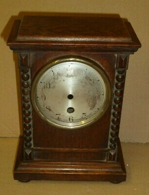 Small oak clock case with barleytwist columns - case only no movement