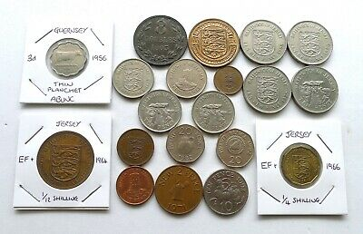 Jersey & Guernsey British Channel Islands Lot X 20, Pre + Post Decimal, Some Hg.