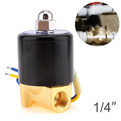 """1/4"""" DC 12V Electric Solenoid Valve Air Water Gas Oil Brass Normally Closed"""