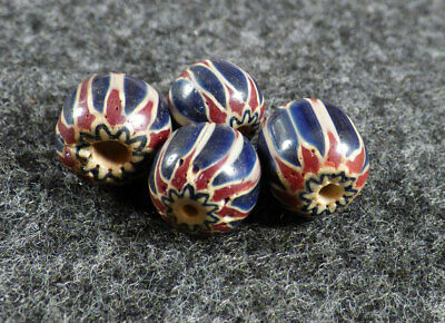 6 Layer Chevron Indian Trade Bead Blue Red 150+ Years Old Venetian Glass RARE