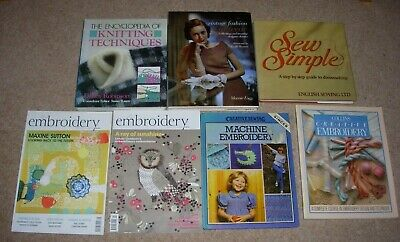 7 EMBROIDERY - SEWING - KNITTING CROCHET - PATTERN BOOKS - DESIGN & CREATE etc