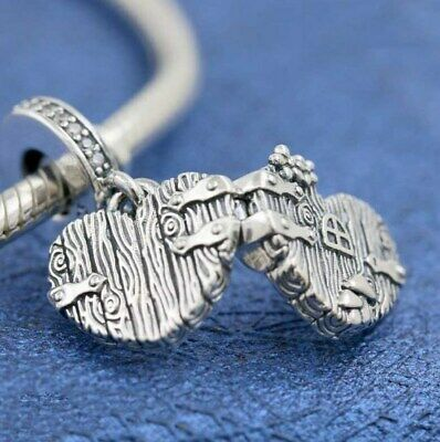 925 Sterling Silver Bead Charm Vintage Home Sweet Heart With Crystal Pendant