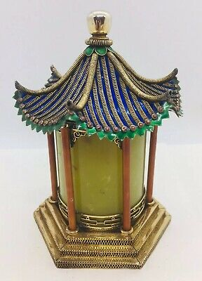 Chinese Antique Sterling Silver Enamel Nephrite Jade Filigree Pagoda Temple Box