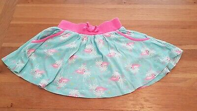 Girls pink and blue flare flamingo skirt elastic waist 4-5 years primark