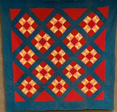 """AWESOME PA c 1890-1900 """"Stars"""" Double Sided QUILT Antique Bars"""