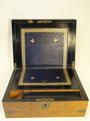 Antique English Campaign Brass Accents Lap Desk Traveling Writing Box Zc1-7