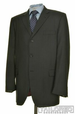 BURBERRY LONDON Gray Striped 100% Wool Jacket Pleated Pants SUIT Mens - 46 L