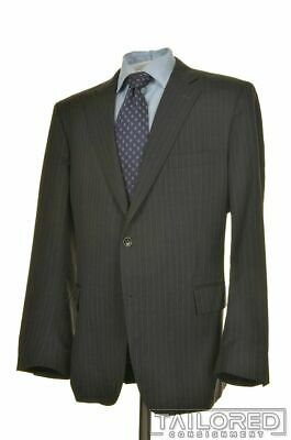 BROOKS BROTHERS Regent Gray Striped 100% Wool Jacket Pants SUIT Mens - 44 R