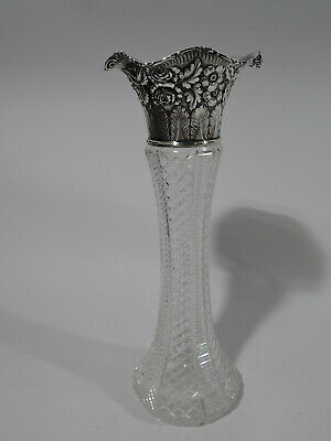 Jacobi & Jenkins Vase - American Brilliant Cut Glass ABC & Sterling Silver