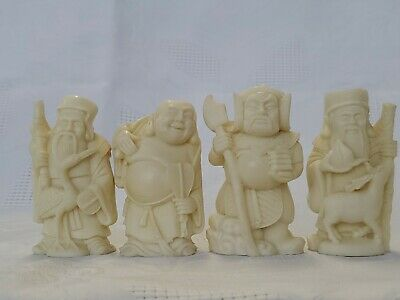 Chinese Asian Wise Men Bone Figurines - Wealth Peace Happiness Long Life