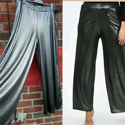 Ladies Wide Leg Trousers grey metallic Size 22 party evening elasticated waist