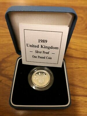 1989 United Kingdom SILVER Proof one pound £1 coin - 9.5g sterling