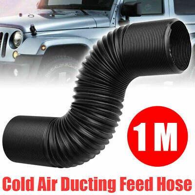 63mm 1m Cold Air Intake Feed Flexible Duct Pipe Hose Induction Kit Filter Black