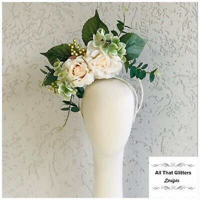 Ladies Cream & Green Tones Floral Headband Fascinator Races