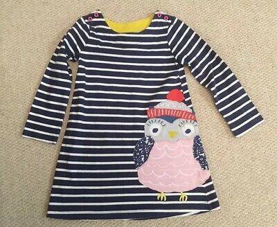 Mini Boden Girls WinterLong Sleeved Striped Blue, Owl Design - Age 4-5 Years