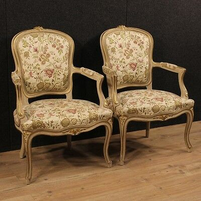 Couple Armchairs Italian Wood Paint Lacquered Golden in Fabric Antique Style