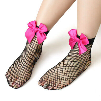 2 Pairs Ankle High Fishnet Elastic Sock Bowknot Decor Hollow Out Mesh Stockings