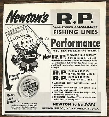 1958 Newton's RP Fishing Lines Print Ad Registered Performance Homer NY