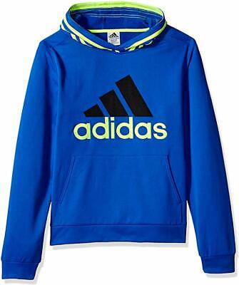 NWT ADIDAS Boys Pullover Hoodie Blue/Lime Fleece Lined Size 4