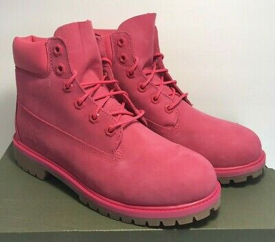 Timberland 6 Inch Premium Waterproof Rose Red Junior Big Girls Boots A1ODE Size 6.5