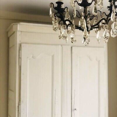 French Antique Painted Armoire Wardrobe Linen Press Cupboard
