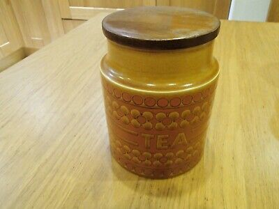 Vintage retro Hornsea Saffron medium storage jar: Tea