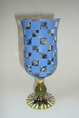 MacKenzie-Childs CIRCUS Blue Check Glass Water Goblet Victoria Richard 1991