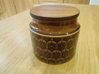Vintage retro Hornsea Heirloom brown small storage jar: plain no lettering