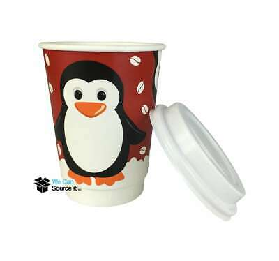 12oz Festive Christmas Penguin Paper Coffee Takeaway Cup -Recyclable | Insulated
