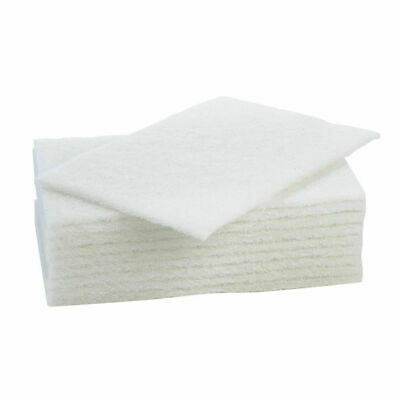 10''x6'' White Non-Scratch Cleaning Scourers / Scourer Pads - Catering Cleaning