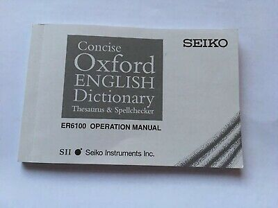 Operation Manual For Seiko ER6100 Concise Oxford Dictionary Thesaurus Electronic