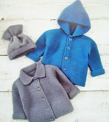 Baby Boys Hooded Jacket Copy Cardigan Hat Knitting Pattern 8 Ply Easy Knit